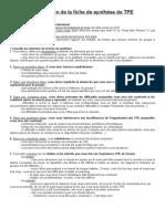 Elaboration de la fiche de synthèse de TPE (1)