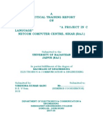 """A Practical Training Report on """"a Project in c Language"""""""
