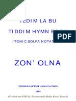 TEDIM LABU (TIDDIM HYMN BOOK) TONIC SOLFA NOTATION