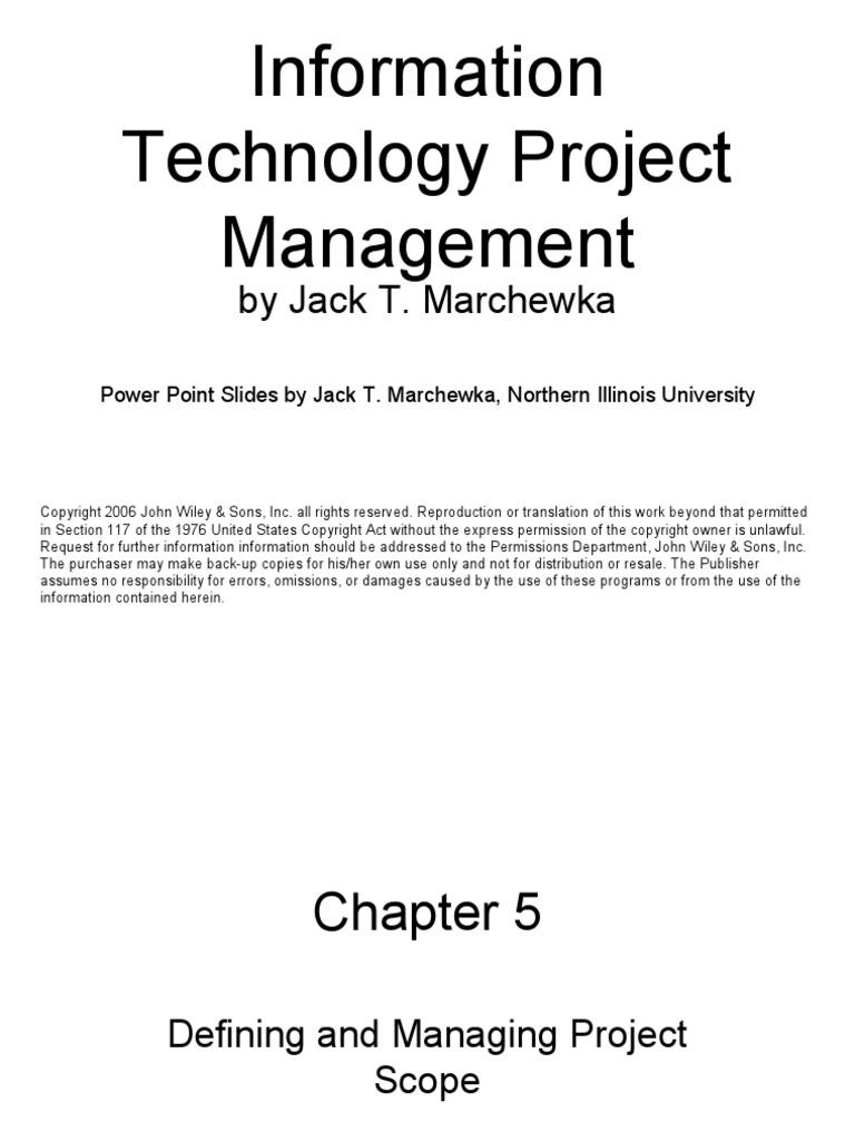 IT Project Management_ch05 By Marchewka | Project Management