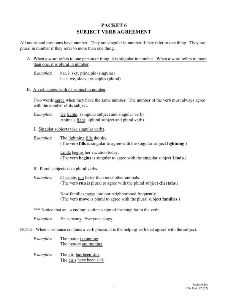worksheet Subject And Verb Agreement Worksheets worksheet subject verb agreement worksheets grass fedjp packet6 grammatical number grammar