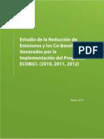 Reducción GEI y Co-Beneficios Generados por la Implementación del Programa ECOBICI 2010,2011,2012