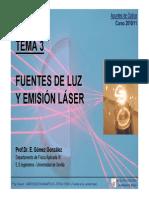 Optica - Tema 3 - Fuentes de Luz y Emision Laser - 2010-11