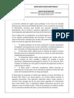 Solicitud de Registro a Los Foros. SEB-SEP. 2014