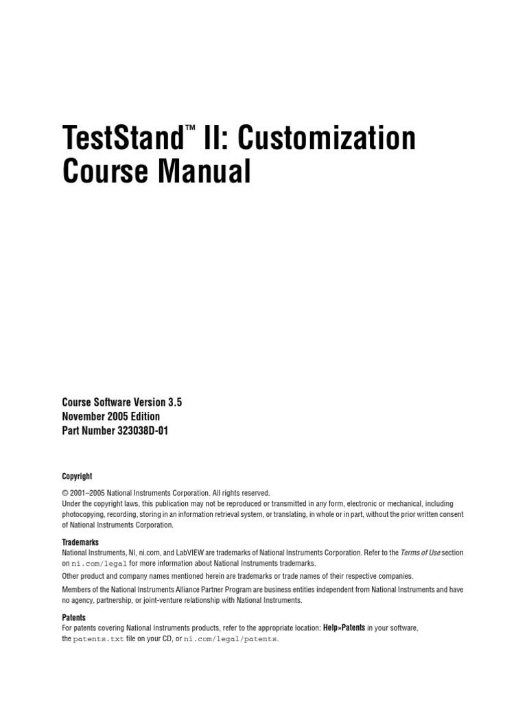 teststand ii customization course manual pdf application rh scribd com