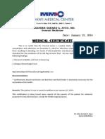 Medical Certificate  Medical Certificate Sample