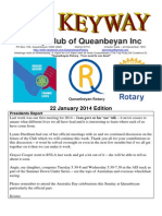 The Keyway -  22 January 2014 edition - weekly newsletter for the Rotary Club of Queanbeyan