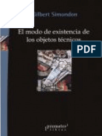 Simondon Gilbert El Modo de Existencia de Los Objetos Tecnicos