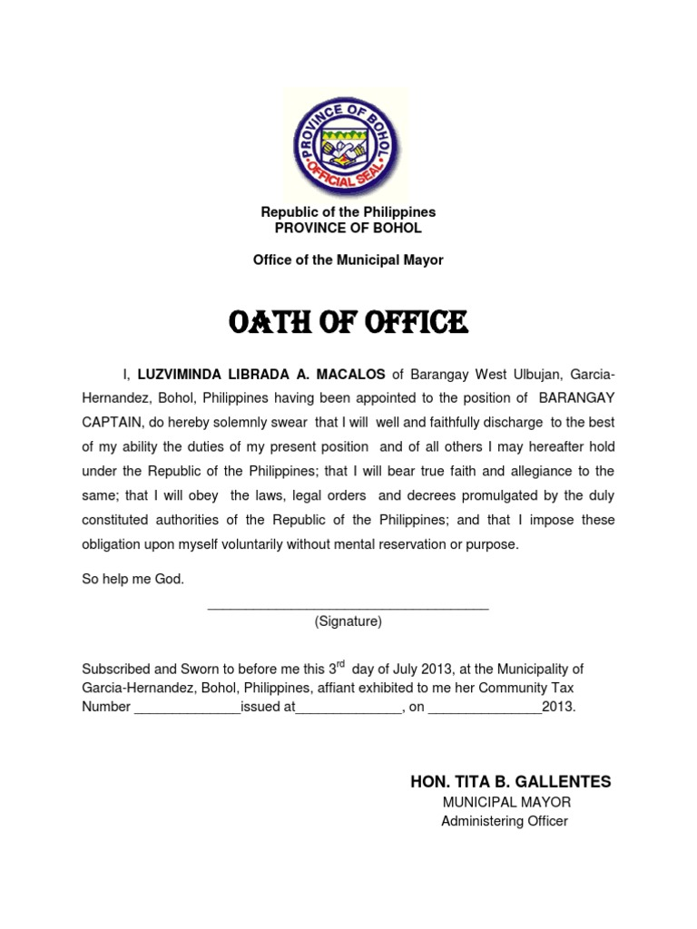 Oath Office