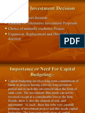 two types of investment decisions pdf