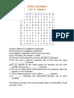 Unit 6 - Word Scramble (Algebra + Linear Equations)