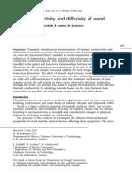 Thermal conductivity and diffusivity of wood