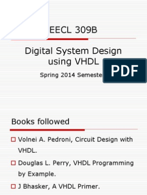 Dsd Using Vhdl Vhdl Hardware Description Language