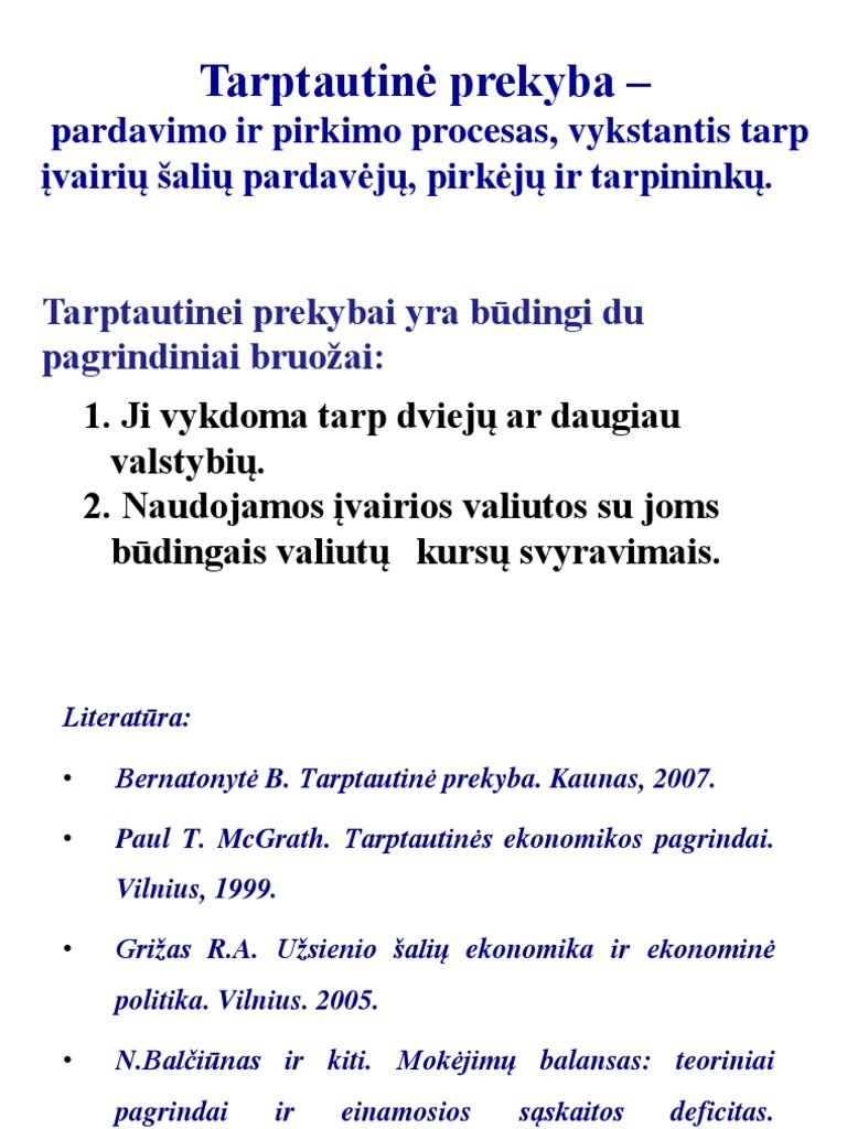 tarptautinės prekybos sistemos poveikis)