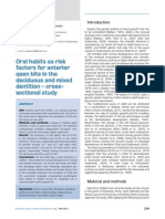 Oral Habits as Risk Factors for Anterior Open Bite in the Deciduous and Mixed Dentition - Cross Sectional Study