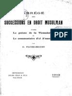 FAURE, Gustave (1912) Successions en Droit Musulman