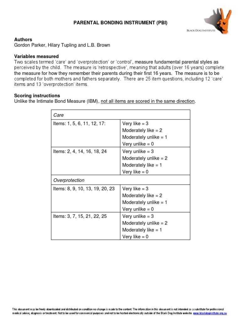 Parental Bonding Instrument Reliability Psychometrics