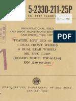 TM 5-2330-211-25P 1962 TRAILER LOW BED 60 TON  MIL-SPEC T-2405  ROGERS MDL DW-60-LS-6