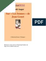 18629-BENOIT AUGER-Sur Les Bonnes de Jean Genet-[InLibroVeritas.net]