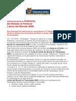 com 0429, 021105 El Festival Letras del Mundo en Tamaulipas 2005 se abrirá en Nuevo Laredo y Matamoros.