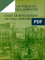 Primer Censo de Población de la Nueva España 1790 Censo de Revilagigedo I