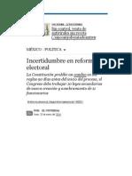 20-01-14 Incertidumbre en Reforma Electoral