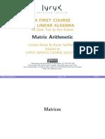 Kuttler LinearAlgebra Slides Matrices MatrixArithmetic Handout