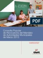 Consulta Popular de Revocatoria del Mandato de Autoridades Municipales de Marzo 2013
