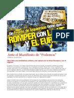 """Ante el Manifiesto de """"Podemos"""""""