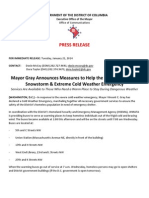 Press Release- Mayor Gray Announces Measures for the Homeless in Cold Weather Emergency 1-21-14