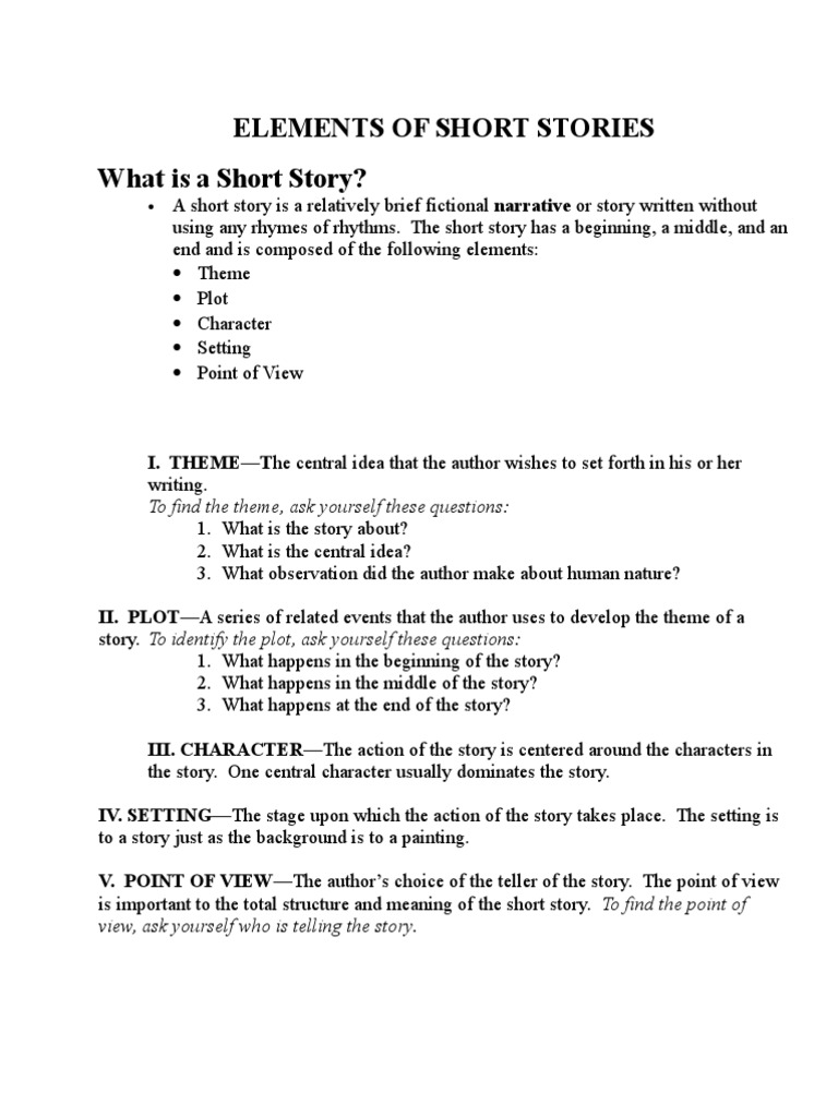 Elements Of Short Stories What Is A Short Story
