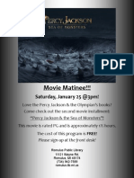 Movie Matinee - Percy Jackson and the Sea of Monsters