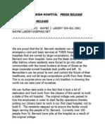 St Bernard Parish Hospital Statement 1-21-14