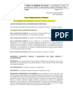 tema 6. Formas de terminación del proceso, la autocomposición procesal, la prevención de la instancia, la sentencia judicial, concepto, características y clases.