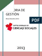 MEMORIA DE GESTIÓN 2013