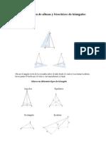 Construcción de alturas y bisectrices de triángulos