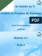 Aula 2 – Análise de Projetos de Sistemas