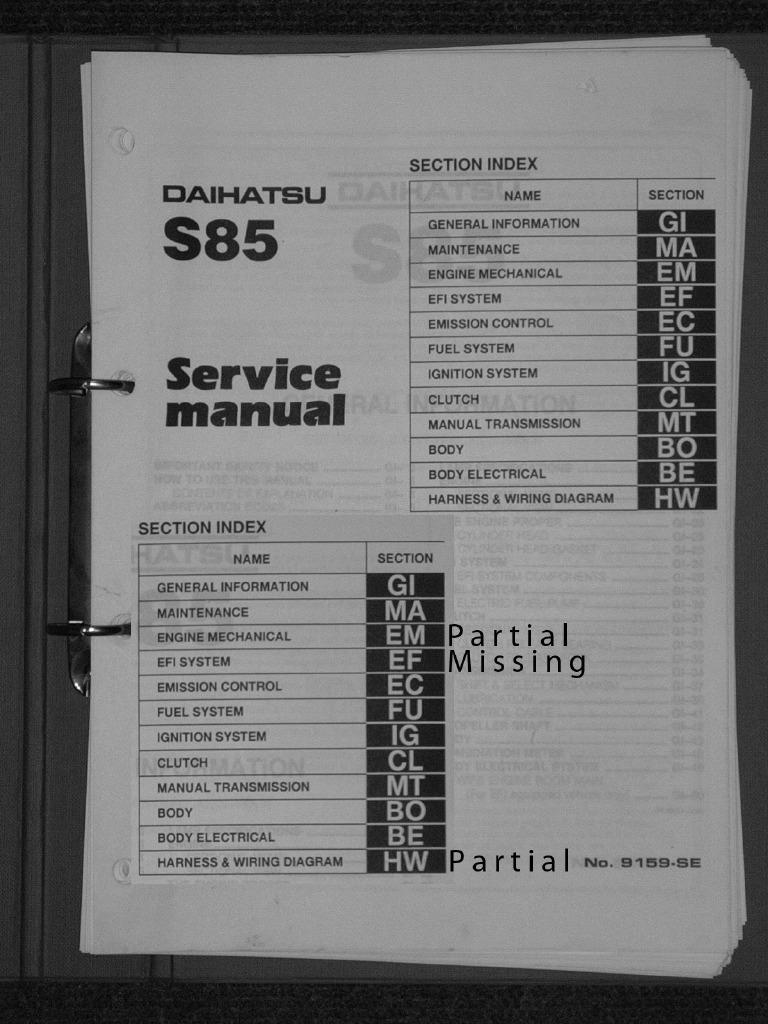 workshop manual daihatsu 3 cyl 993cc efi cylinder engine piston rh scribd com Lennox Wiring Diagram PDF Residential Electrical Wiring Diagrams HVAC