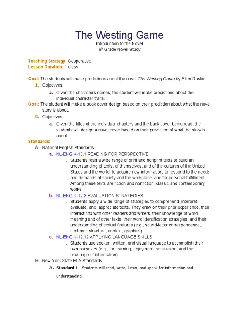 The Westing Game Introduction Activity Novels Cognition