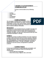 SEVEN C,S OF BUSSINESS COMMUNICATION
