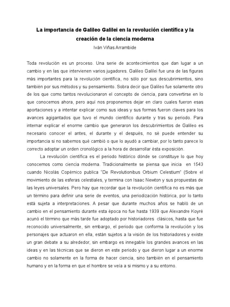 La Importancia de Galileo Galilei en la revolución científica y la ...