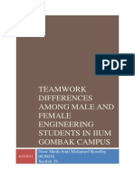 Teamwork Differences Among Male and Female Engineering Students in IIUM Gombak Campus