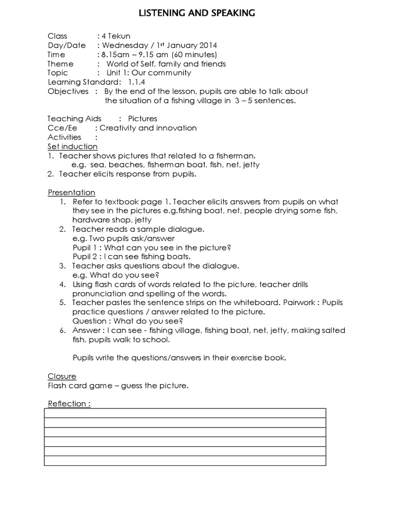 kssr lesson plan sample Lesson plan ~ kssr bi year 2 ~ day 2  by the end of the lesson, pupils will be able to: (i) read and understand a paragraph of 3-5 simple sentences.