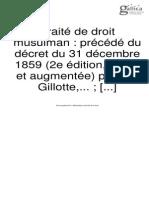 GILLOTE, Charles (1860) Traite de Droit Musulman