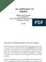 Arithmetic to Algebra - Wu - 2009