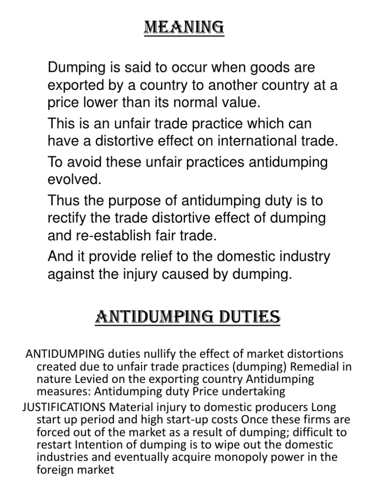 Meaning Of Dumping Dumping Pricing Policy Exports