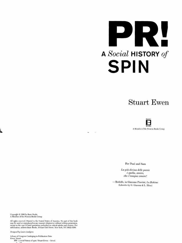 Stuart ewen pr a social history of spin 1996 public relations stuart ewen pr a social history of spin 1996 public relations propaganda fandeluxe Choice Image