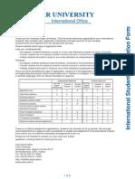 Yasar University Application Form GRADUATE
