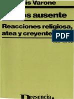 105300521 El Dios Ausente Reacciones Religiosa Atea y Creyente Varone Francois