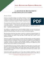 """Palabras de Fray Tomás González de la casa para migrantes """"La 72"""" al recibir el reconocimiento Jtatik Samuel Jcanan Lum 2014"""